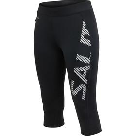 Salming Capri Logo Leggings Dames, black/silver reflective